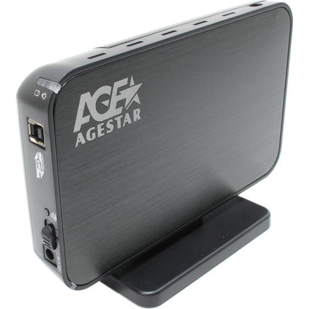 "Корпус AgeStar 3UB3A8-6G Black, usb3.0 to 3,5""hdd SATA алюминий"