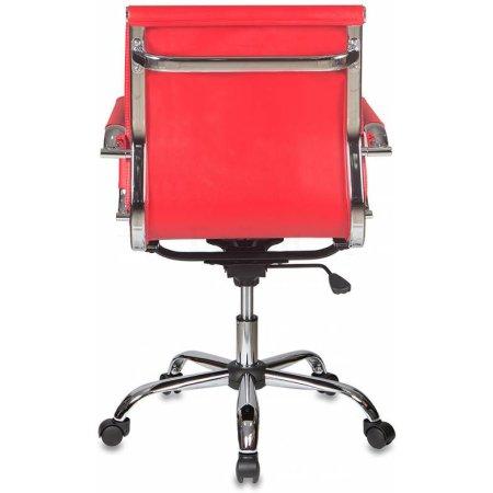Кресло руководителя Бюрократ CH-993-Low/Red низкая спинка красный искусственная кожа крестовина хромированная