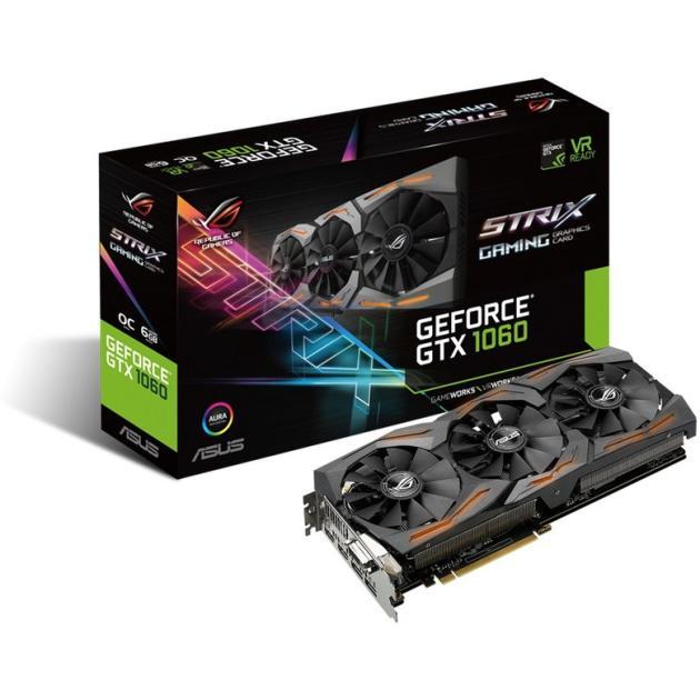 Asus NVIDIA GeForce GTX 1060 OC STRIX GAMING 6144Мб, GDDR5,1620MHz, STRIX-GTX1060-O6G-GAMING
