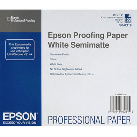Epson Proofing Paper White Semimatte A3+ Фотобумага, A3+, 100, матовая