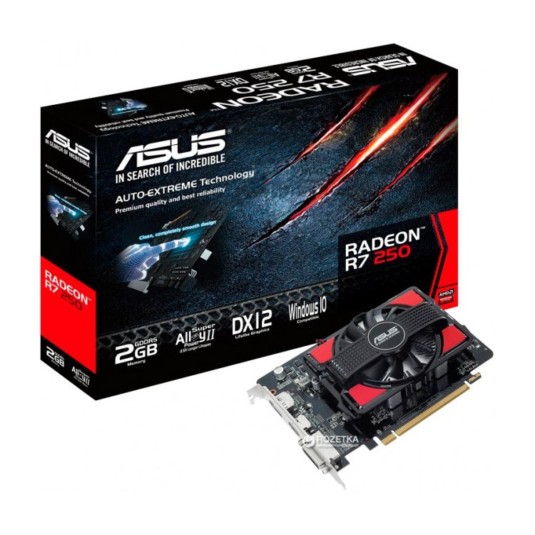 Asus AMD Radeon R7 250 2048Мб, GDDR5, 725MHz /R7250-2GD5 /