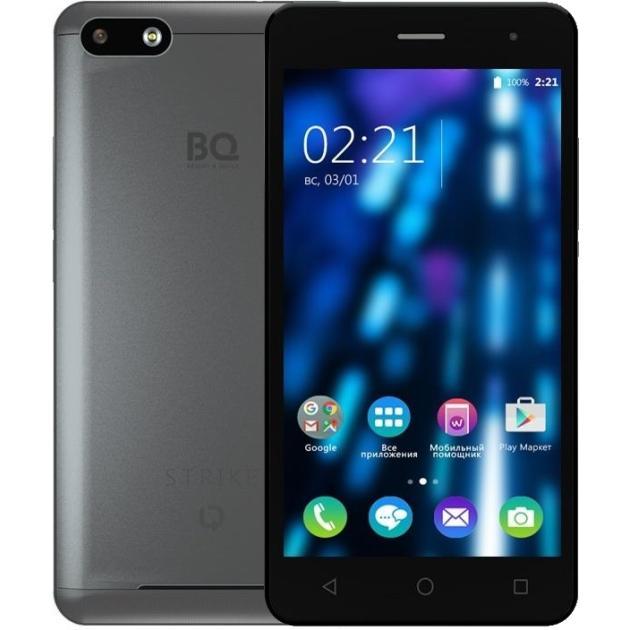 BQ-Mobile BQ BQS-5020 Strike 8Гб, Темно-серый, Dual SIM, 3G аксессуар чехол bq bqs 5050 strike selfie zibelino classico black zcl bq bqs 5050 blk