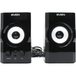 Sven SPS-605 Черный, 2.0, mini jack, MDF, Дерево