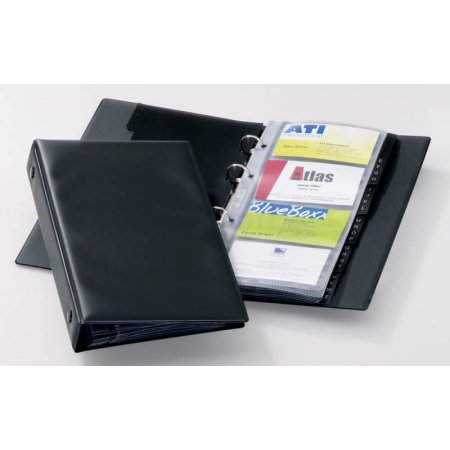 Визитница настольная Durable Visifix 2441-01 57х90мм (96 визиток) вклад.:12шт. ПВХ черный