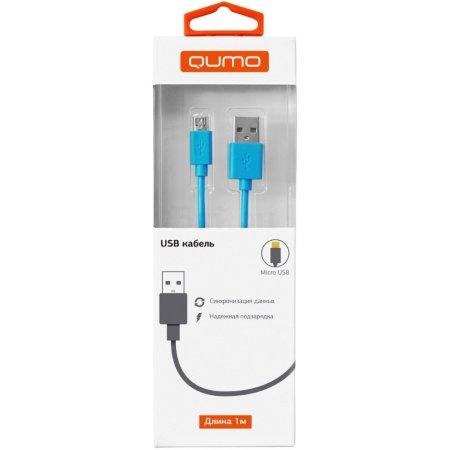 Qumo USB – micro USB, 1м 1м, Микро-USB, USB, Голубой