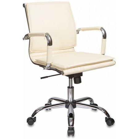 Кресло руководителя Бюрократ CH-993-Low/Ivory низкая спинка слоновая кость искусственная кожа крестовина хромированная