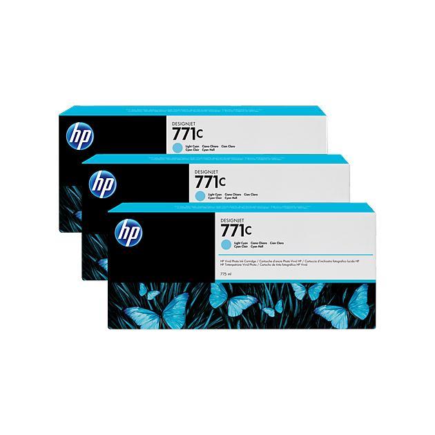 HP Inc. Cartridge HP 771C светло-голубой для HP Designjet Z6200 775 мл, 3 шт. в упаковке