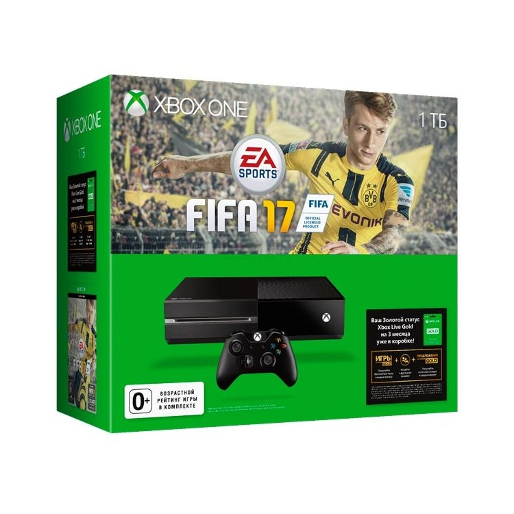 Xbox One 1 ТБ + FIFA 17 + 3 мес. Xbox Live Gold