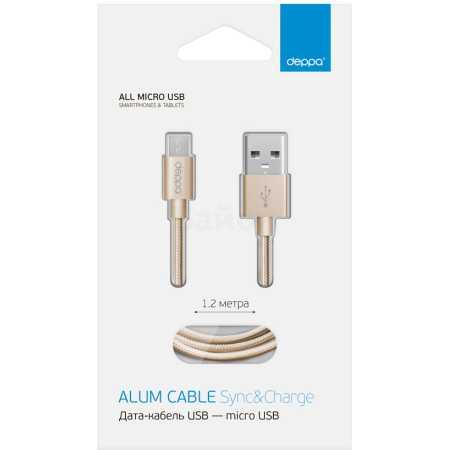 Deppa micro USB-USB 1.2м, Микро-USB, USB, Не указан
