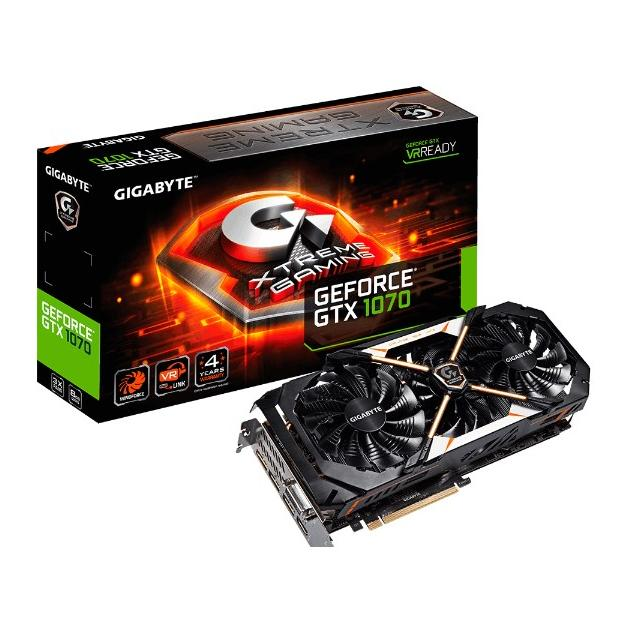Gigabyte GeForce GTX 1070 Xtreme Gaming PCI-E 16x 3.0, 8192Мб, GDDR5 GV-N1070XTREME-8GD