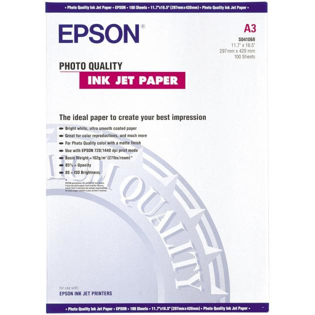 Epson Photo Quality Ink Jet Paper A3 Фотобумага, A3, 100, матовая C13S041068