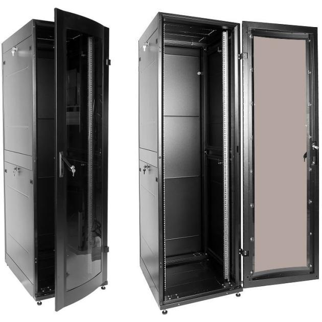 ЦМО Шкаф телекоммуникационный напольный 42U (600x1000) дверь стекло (3 места), черный