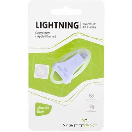 Vertex для iPhone 5, micro USB-s8-pin Lightning, Микро-USB, Белый