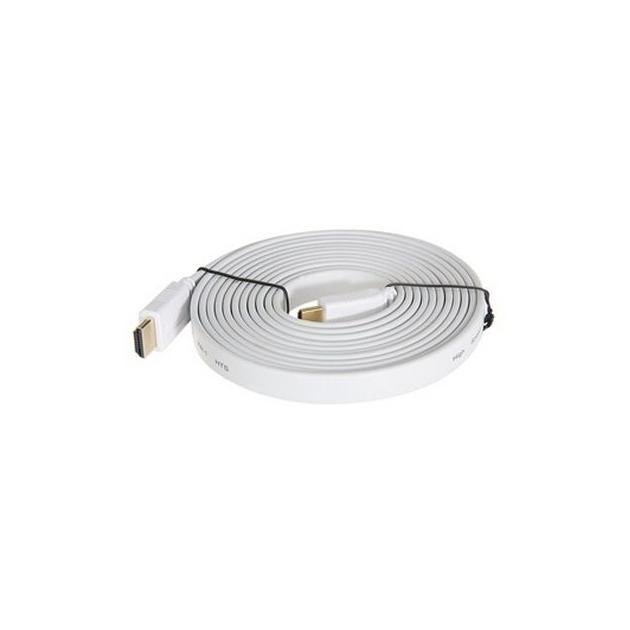 Кабель HDMI Ver.1.4 FLAT White jack HDMI(19pin)/HDMI(19pin) (10м) Позолоченные контакты