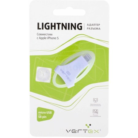 Vertex для iPhone 5, micro USB-s8-pin Lightning, Микро-USB, Белый
