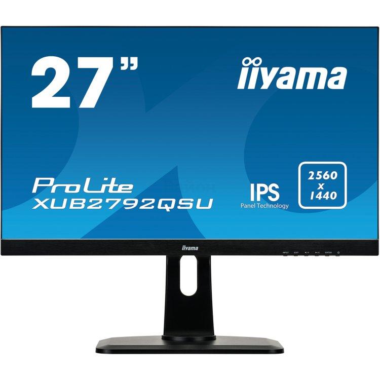 """Iiyama ProLite XUB2792QSU-B1 2560x1440пикс., 27"""", Встроенные колонки, HDMI, DVI"""