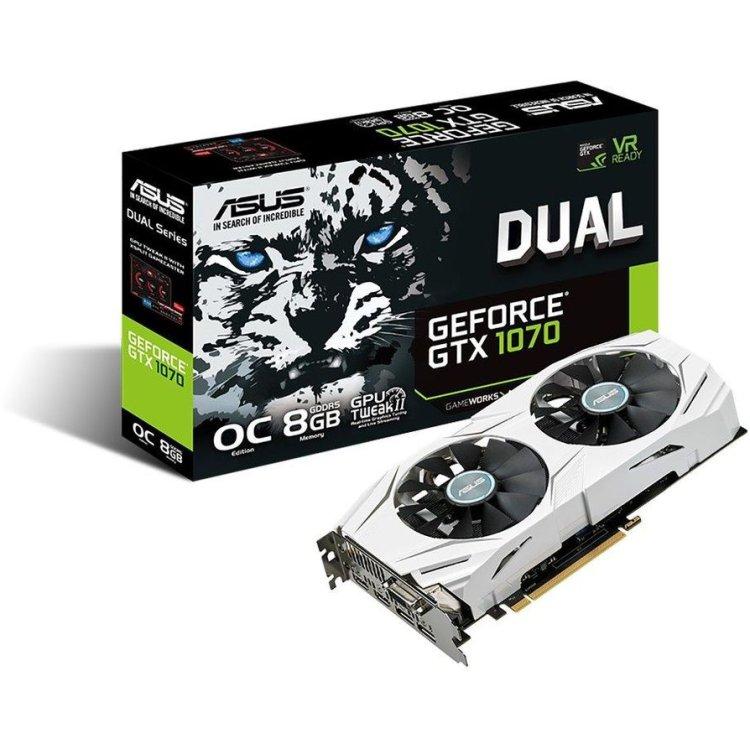 Asus NVIDIA GeForce GTX 1070 OC DUAL 8192Мб, GDDR5, 1607MHz, DUAL-GTX1070-O8G