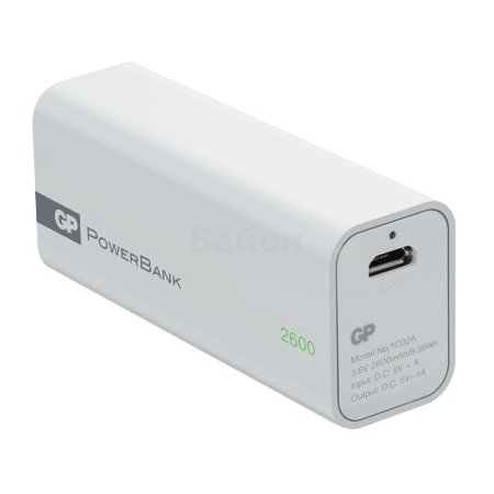 GP PowerBank 1C02AWE Белый, 2600мАч