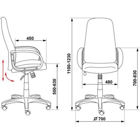 Кресло руководителя Бюрократ CH-808AXSN/Grey темно-серый 10-128
