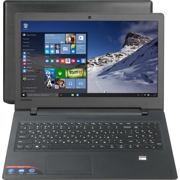 "Lenovo IdeaPad 110 15.6"", AMD E-series, 1500МГц, 2Гб RAM, DVD нет, 500Гб, Черный, Windows 10 Домашняя, Windows 10, Bluetooth"