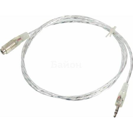 Кабель-удлинитель аудио Buro Jack 3.5 (m)/Jack 3.5 (f) 1м. прозрачный (CAB025-1M)