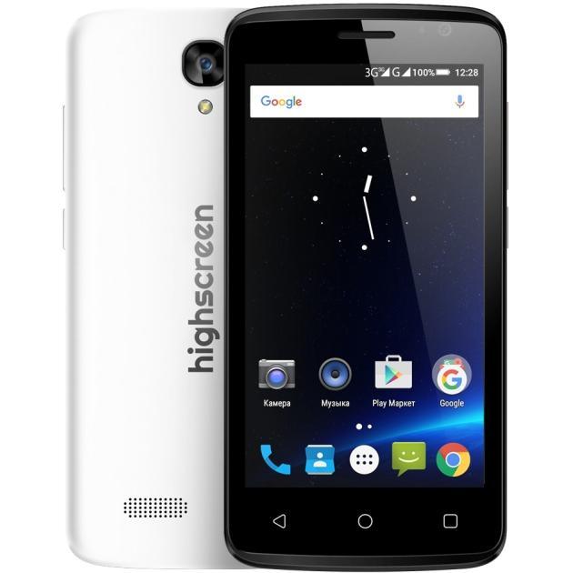 Highscreen Easy F Pro БелыйСмартфоны<br>Операционная система Android , 3G, Фотокамера 5.0 Мп, SIM-карты Dual SIM...<br><br>Артикул: 1289050<br>Производитель: Highscreen<br>Цвет: Белый<br>Операционная система: Android<br>SIM-карты: Dual SIM<br>Специальные предложения: Новинка<br>Размер экрана: 4.5  (11.4 см)<br>4G (LTE): Нет<br>3G: Да<br>Оперативная память (RAM): 1 Гб<br>Встроенная память: 8 Гб<br>Фотокамера: 5.0 Мп