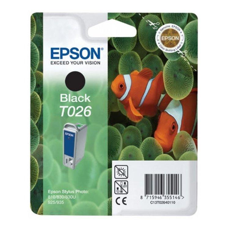 Epson T026 Черный, Картридж струйный, Стандартная, нет