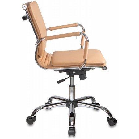 Кресло руководителя Бюрократ CH-993-Low/Camel низкая спинка светло-коричневый искусственная кожа крестовина хромированная