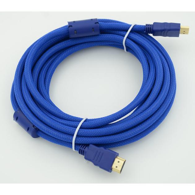 Кабель HDMI Ver.1.4 Blue jack HDMI(19pin)/HDMI(19pin) (5м) феррит.кольца Позолоченные контакты