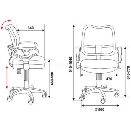 Кресло Бюрократ CH-799AXSN/Red спинка сетка черный сиденье красный 26-22
