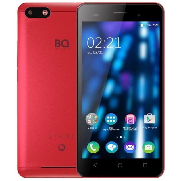 BQ-Mobile BQ BQS-5020 Strike 8Гб, Красный, Dual SIM, 3G аксессуар чехол bq bqs 5050 strike selfie zibelino classico black zcl bq bqs 5050 blk