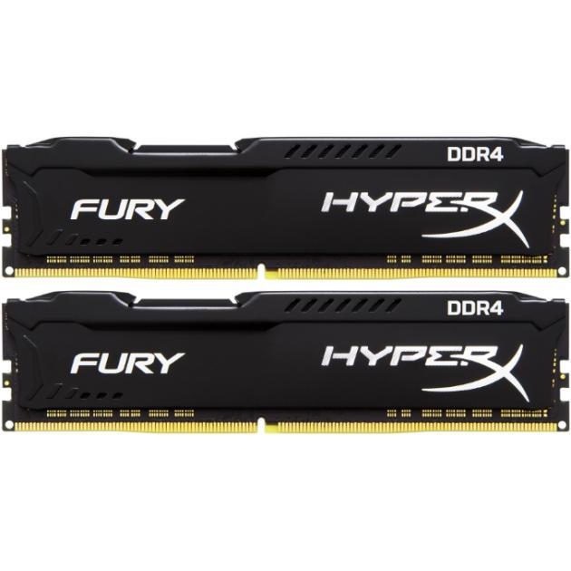 Kingston HyperX Fury HX426C16FBK2/32 DDR4, 32Гб, PC-21300, 2666, DIMM kingston technology kingston hyperx fury hx318c10f 16 гб 2 модуля белый