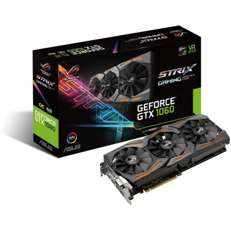 Asus NVIDIA GeForce GTX 1060 OC STRIX GAMING 6144Мб, GDDR5,1620MHz, STRIX-GTX1060-O6G-GAMING