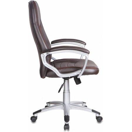 Кресло руководителя Бюрократ T-9910/BROWN коричневый искусственная кожа пластик серебро