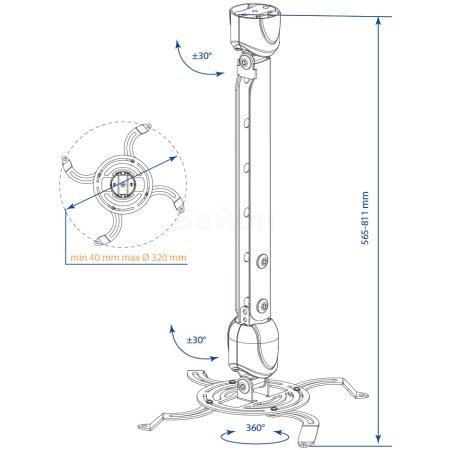 Кронштейн для проектора Kromax PROJECTOR-400 черный макс.15кг потолочный поворот и наклон