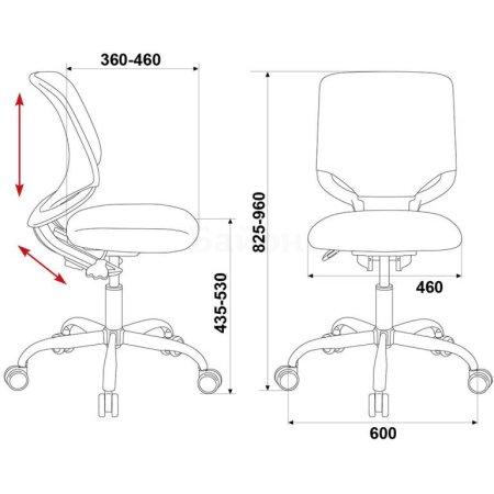 Кресло детское Бюрократ KD-7/TW-13A розовый TW-13A крестовина хром колеса серый пластик серый