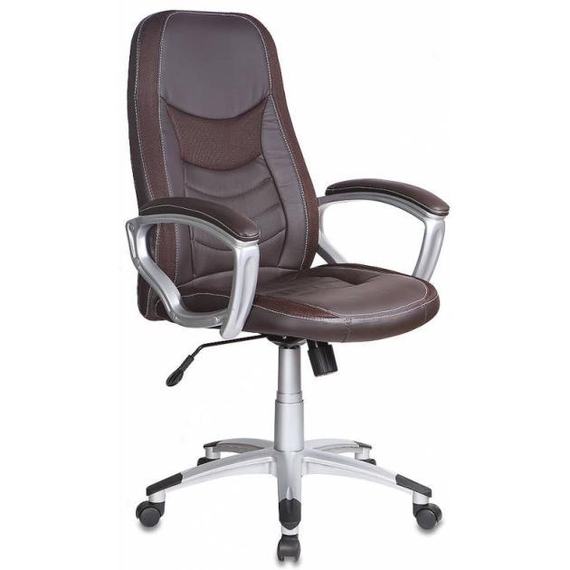Кресло руководителя Бюрократ T-9910/BROWN коричневый искусственная кожа пластик сереброКомпьютерные кресла<br>Тип Кресло руководителя<br>PartNumber/Артикул Производителя T-9910/BROWN<br>Цвет (пластик) серебро<br>Цвет (спинка) коричневый<br>Особенности/доп.информация вставки ткань<br>Модель T-9910<br>Ограничение по весу 120<br>Регулировка высоты (газлифт) ДА<br>Цвет обивки коричневый<br>Материал обивки искусственная кожа<br>Крестовина пластиковая...<br>