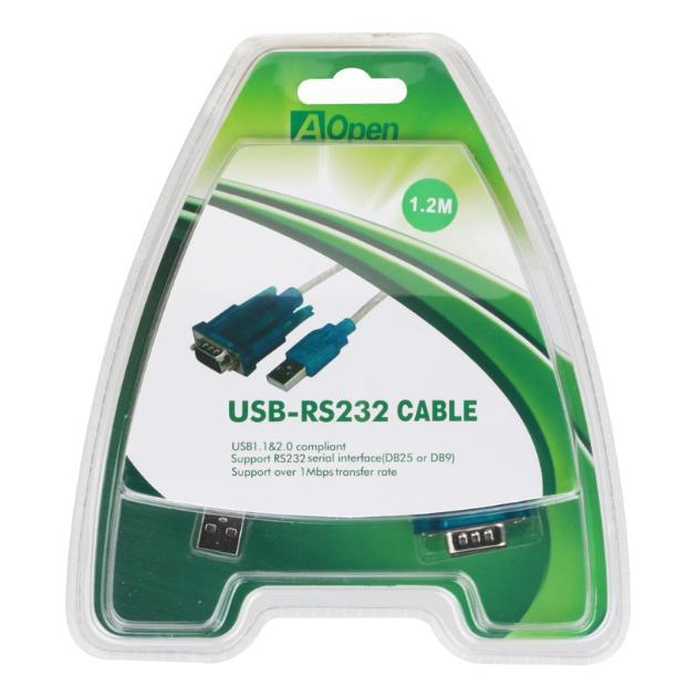 Aopen ACU804 1.2м, COM 9-pin, USB-A, Серебристый от Байон