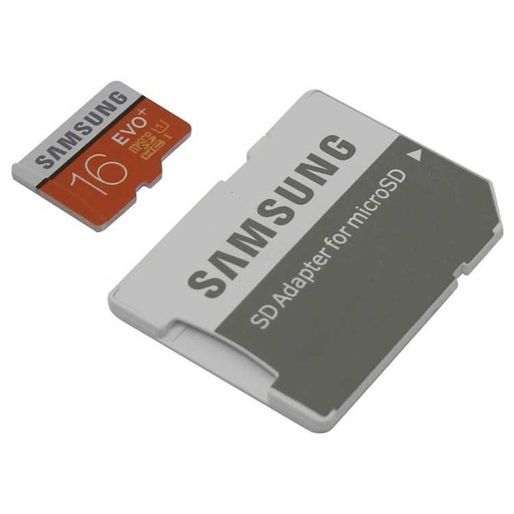 Samsung microSDHC EVO Plus 80MB/s + SD adapter 16ГБ