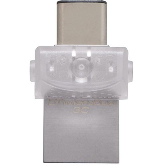 Kingston DataTraveler microDuo 3C 128Гб, Серебристый, металл, USB 3.1 DTDUO3C128GB