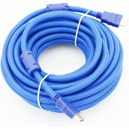 Кабель HDMI Ver.1.4 Blue jack HDMI(19pin)/HDMI(19pin) (10м) феррит.кольца Позолоченные контакты