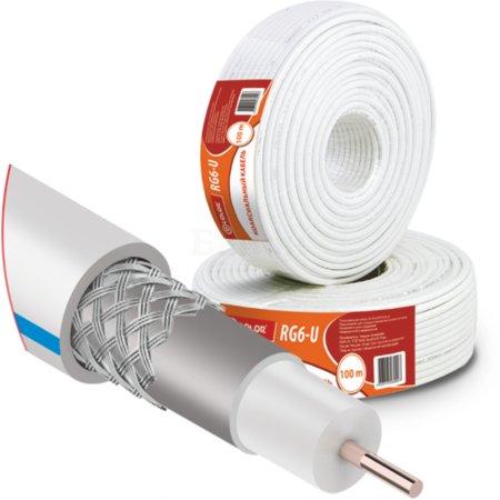 Коаксиальный кабель RG6 plus 100,0 м, белый