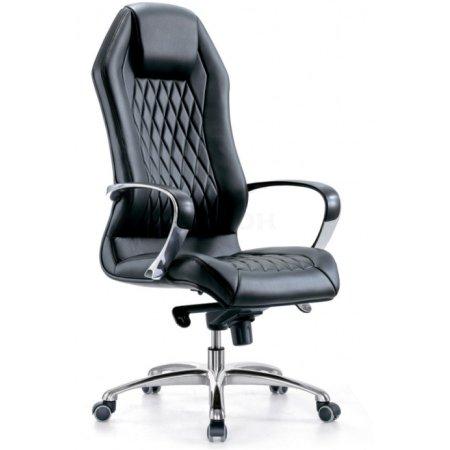 Кресло Бюрократ _Aura/Black черный кожа крестовина полированный алюминий