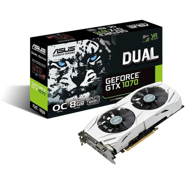 Asus NVIDIA GeForce GTX 1070 OC DUAL 8192Мб, GDDR5,1607MHz, DUAL-GTX1070-O8G