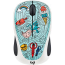 Logitech Wireless Mouse M238 Doodle Collection Skateburger Голубой