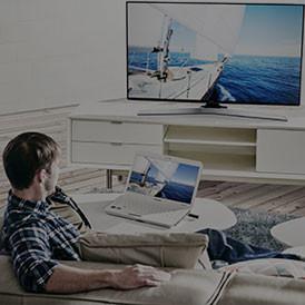 Панорамное изображение на экране телевизора Samsung SUHD TV